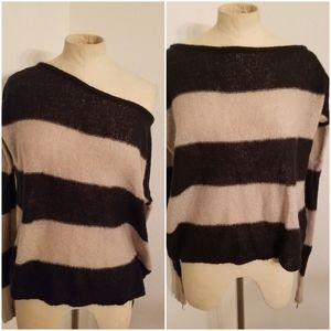 Brandy Melville Open Knit Sweater Top OS Tan/Black